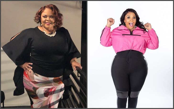 Tamela Mann's photo before and after losing 40 lbs of body weight.