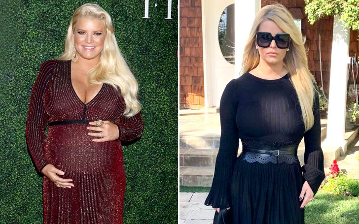 Jessica Simpson before and after her weight loss in 2019