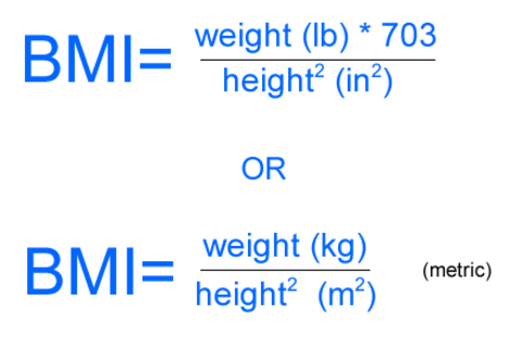 Both metric and imperial formula for BMI.