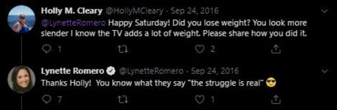 Lynette Romero replies to her fan about her weight loss.