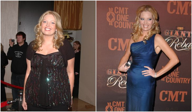 Melissa Peterman before and after her weight loss journey.