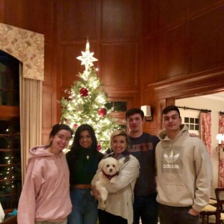 Allison Rosati with her kids and dog.