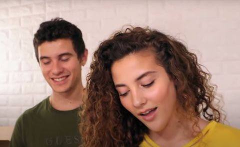 Sofie Dossi with her brother Zak Dossi.