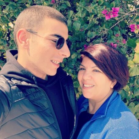 Fares Landoulsi with his mother.