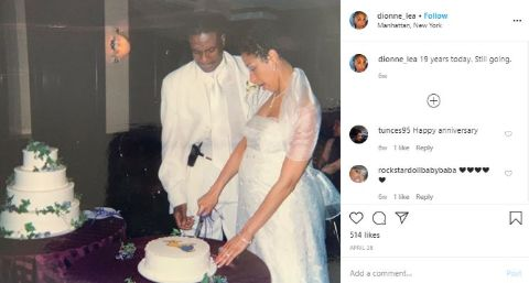 Dionne Lea Williams and her spouse Keith David's wedding day photo.