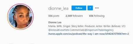 Dionne Lea Williams's bio on Instagram.