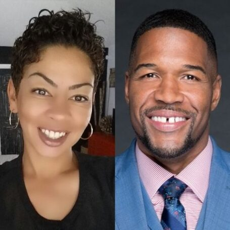 A collage of Wanda Hutchins and Michael Strahan.