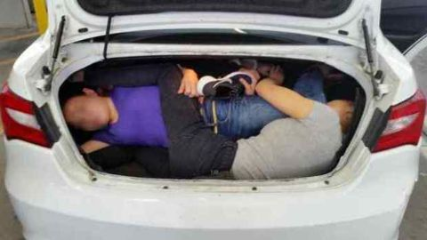A photo of Emiliano Aguilar's car's trunk when he tried to smuggle four Chinese into the US.