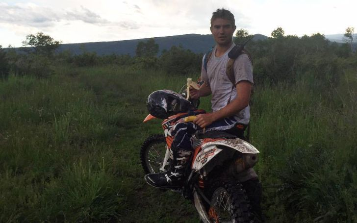 A photo of Liam Rooney Koch riding a dirt bike.