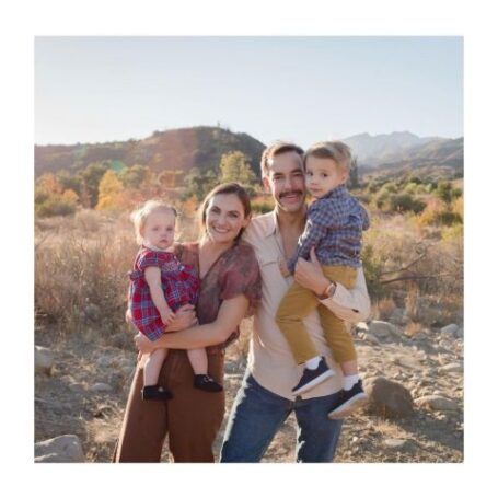 Annie Costner with her husband and two kids.