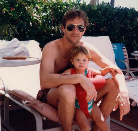 Lily with her dad Kevin Costner during childhood.
