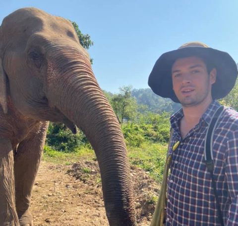 Sebastian Spader's photo with an elephant.
