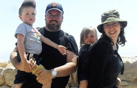 Michael and Mayim with their kids.